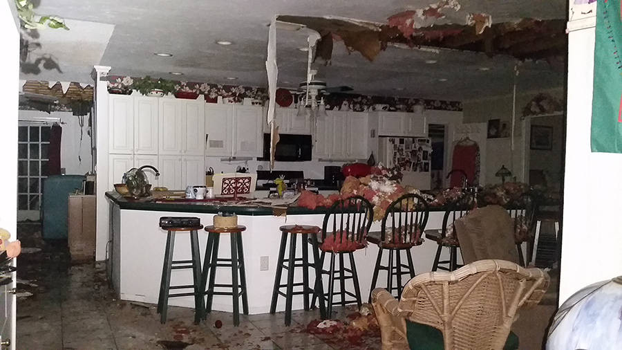 Kitchen Water damage After House FIre